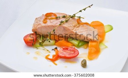 Just cooked and served food in a restaurant - stock photo