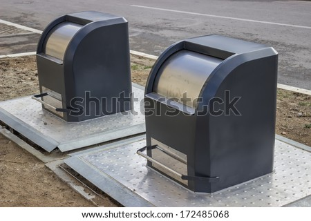 just installed underground garbage containers on public space - stock photo