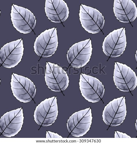 Just leaves. Seamless pattern. Watercolor background 8