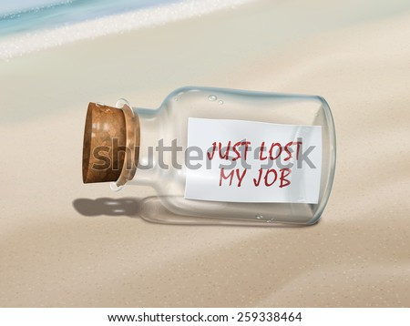 just lost my job message in a bottle isolated on beautiful beach - stock photo