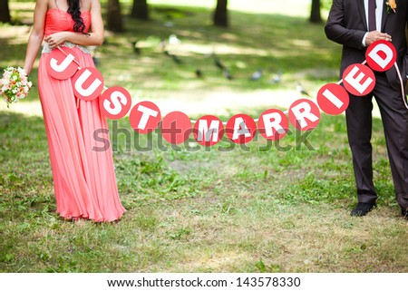 just married - stock photo