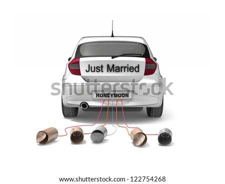 Just Married car - stock photo
