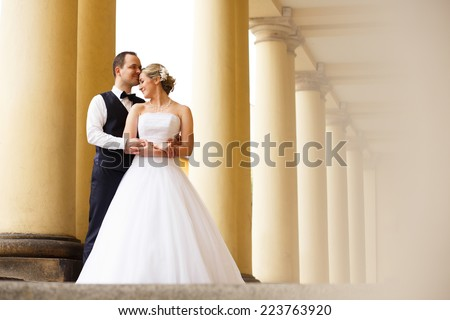 Just married couple embrace, wedding pair hugging, Bride and Groom, Romantic Married Couple posing in castle garden near the columns holding hands, beautiful couple. They Hug each other, wedding day - stock photo