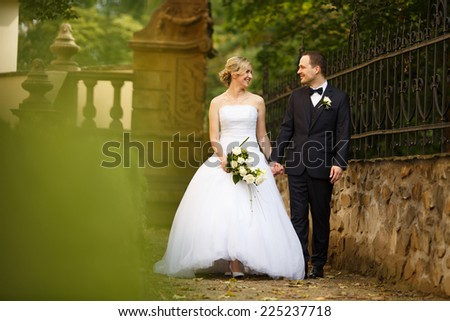 Just married couple embrace, wedding pair hugging, Bride and Groom, Romantic Married Couple posing in autumn park, holding hands, beautiful couple smiling to the camera, They Hug each other, wedding - stock photo