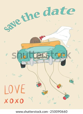Just married couple in retro car dragging cans. Wedding card design. Hand drawn vintage save the date card. - stock photo