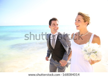 Just married couple walking on the beach