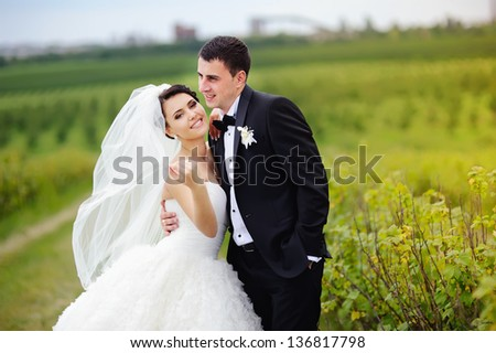 just married, Happy couple on wedding day - stock photo