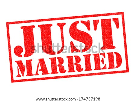 JUST MARRIED red Rubber Stamp over a white background. - stock photo