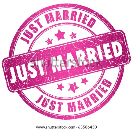 Just married stamp - stock photo