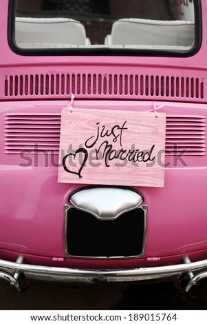 Just married wedding sign for car or decoration - stock photo