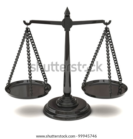 Justice and court symbol - scale at balance 3d