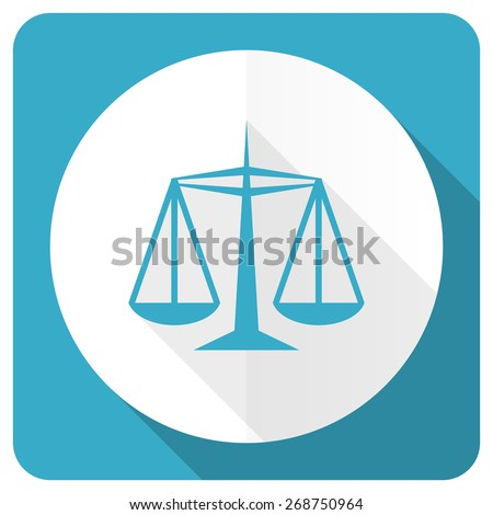 justice blue flat icon law sign  - stock photo