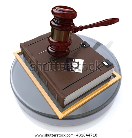 Justice book in the design of information related to law. 3d illustration - stock photo