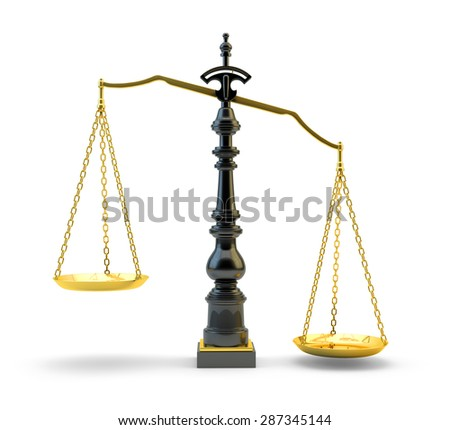 Justice concept, old vintage scales isolated on white background
