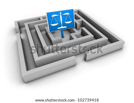 Justice concept with labyrinth and blue balance symbol on white background. - stock photo