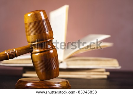 Justice concept , Wooden gavel barrister - stock photo