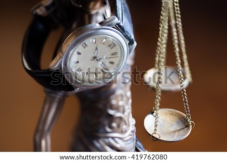 justice delayed is justice denied. - stock photo