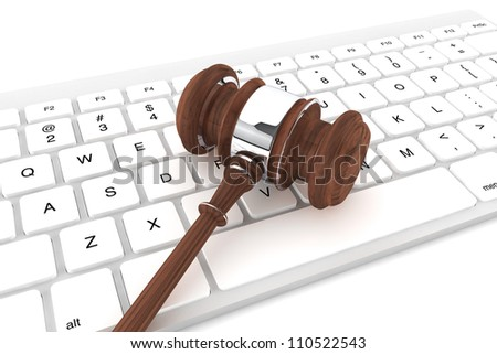 Justice Gavel and keyboard on a white background