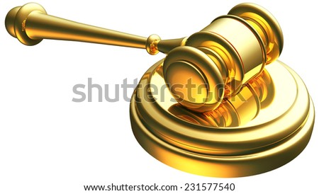 justice gavel gold 3d rendering with clipping path - stock photo