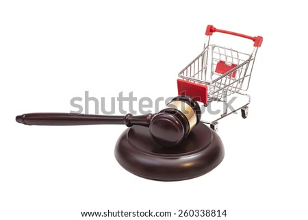 Justice Gavel with Shopping Cart on white background  - stock photo