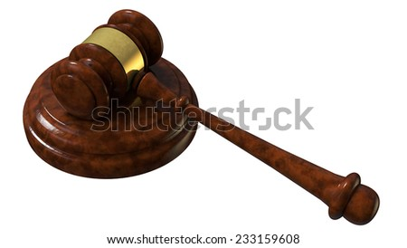 justice gavel wood 3d rendering with clipping path - stock photo