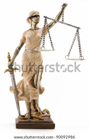 Justice (greek:themis,latin:justitia) blindfolded with scales and sword - stock photo