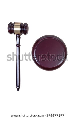 Justice hammer or judge gavel made from wooden isolated on white background