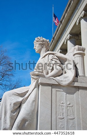 Justice is blind for lawyers judges attorneys politicians legal scholars statue in Memphis Tennessee - stock photo