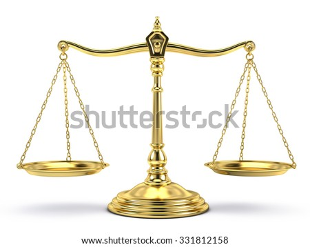 Justice, law, decisions concept - Balanced gold scale isolated on white - stock photo