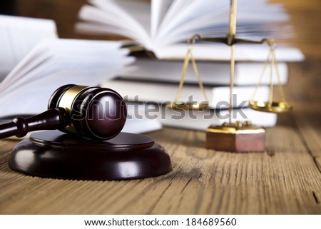 Justice Scale and Gavel - stock photo