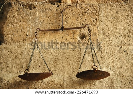 justice scale weight symbol yellow antique legal icon   - stock photo
