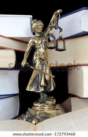 Justice Statue and book. Lawyer background - stock photo