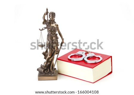 Justice with scales for Law and Justice on bright background - stock photo