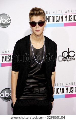 Justin Bieber at the 2012 American Music Awards held at the Nokia Theatre L.A. Live in Los Angeles, USA on November 18, 2012. - stock photo