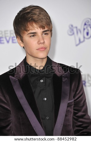 "Justin Bieber at the Los Angeles premiere of his new movie ""Justin Bieber: Never Say Never"" at the Nokia Theatre LA Live. February 8, 2011  Los Angeles, CA Picture: Paul Smith / Featureflash - stock photo"