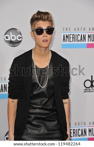 Justin Bieber at the 40th Anniversary American Music Awards at the Nokia Theatre LA Live. November 18, 2012  Los Angeles, CA Picture: Paul Smith - stock photo