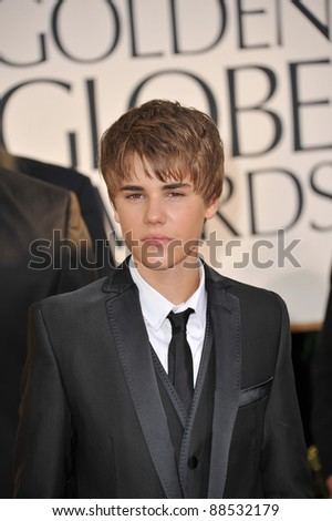 Justin Bieber at the 68th Annual Golden Globe Awards at the Beverly Hilton Hotel. January 16, 2011  Beverly Hills, CA Picture: Paul Smith / Featureflash - stock photo
