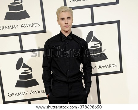 Justin Bieber at the 58th GRAMMY Awards held at the Staples Center in Los Angeles, USA on February 15, 2016. - stock photo