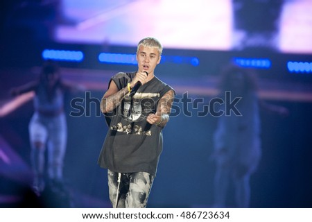 Justin Bieber performs in Pittsburgh Wednesday,  July 13, 2016 during the 'Purpose' world tour at Consol Energy Center.