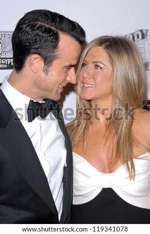 Justin Theroux, Jennifer Aniston at the 26th American Cinematheque Award Honoring Ben Stiller, Beverly Hilton Hotel, Beverly Hills, CA 11-15-12 - stock photo