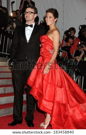 Justin Timberlake, in William Rast, Jessica Biel, in an Atelier Versace dress, at The Model as Muse Embodying Fashion Costume Institute Benefit Gala, Metropolitan Museum of Art, New York May 4, 2009 - stock photo