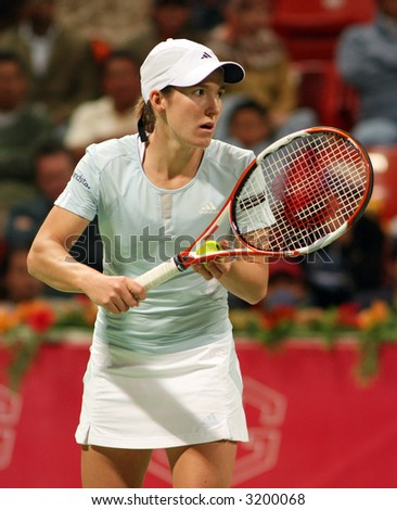 Justine Henin, then the world No.2 at the Qatar Total Open, March 2007 - stock photo