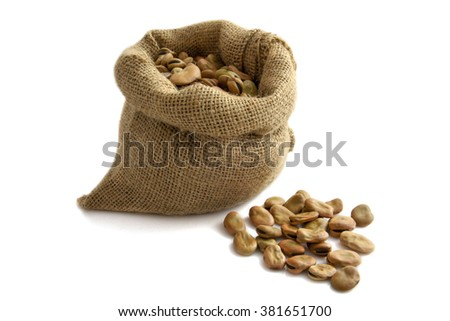 Jute bag filled with beans isolated over white - stock photo