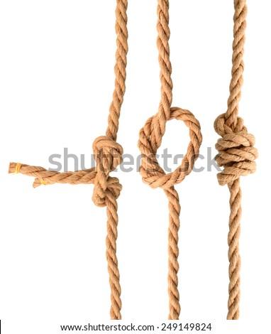 Jute rope knots - stock photo