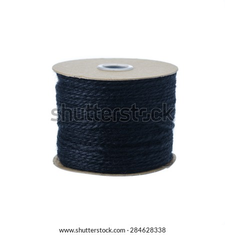 Jute rope rolls over white background - stock photo