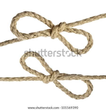 Jute Rope with Bow Knot close up isolated on white background