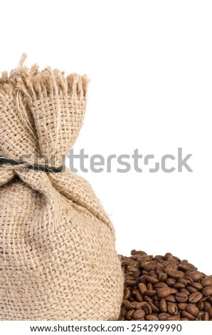 Jute sack and coffee beans over the white - stock photo