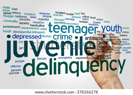 Juvenile delinquency concept word cloud background - stock photo