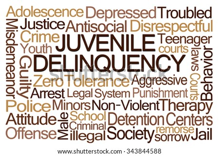 Juvenile Delinquency Word Cloud on White Background - stock photo