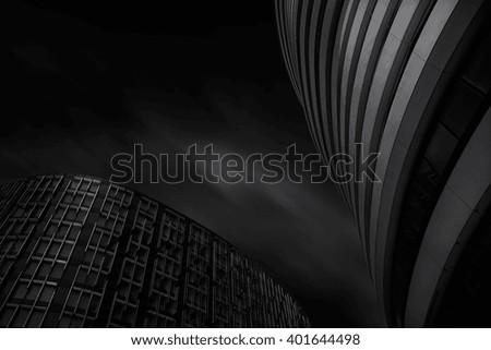 Juxtaposition  Cool buildings near Victoria station, London, UK.  - stock photo